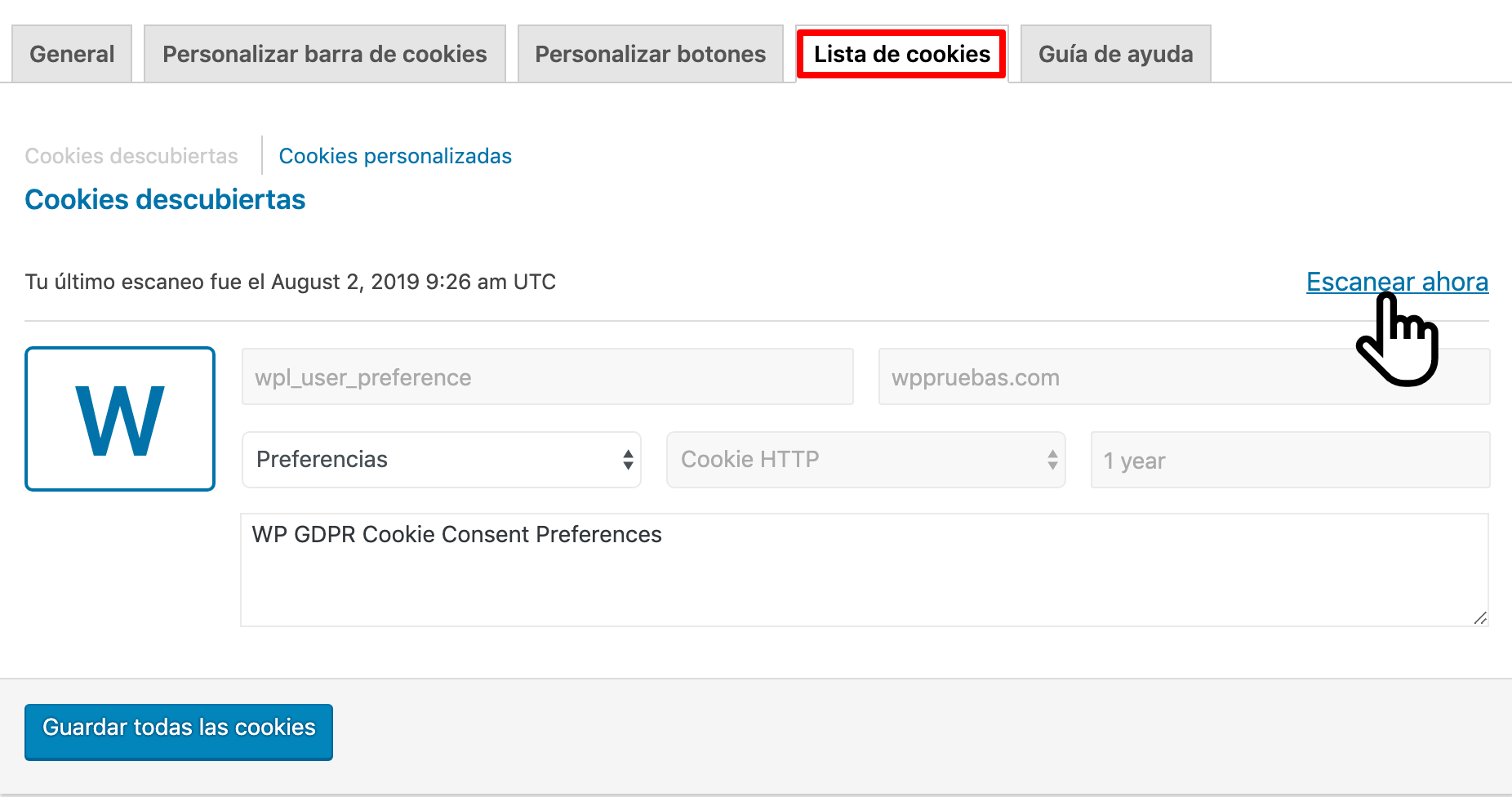 escanear cookies wordpress