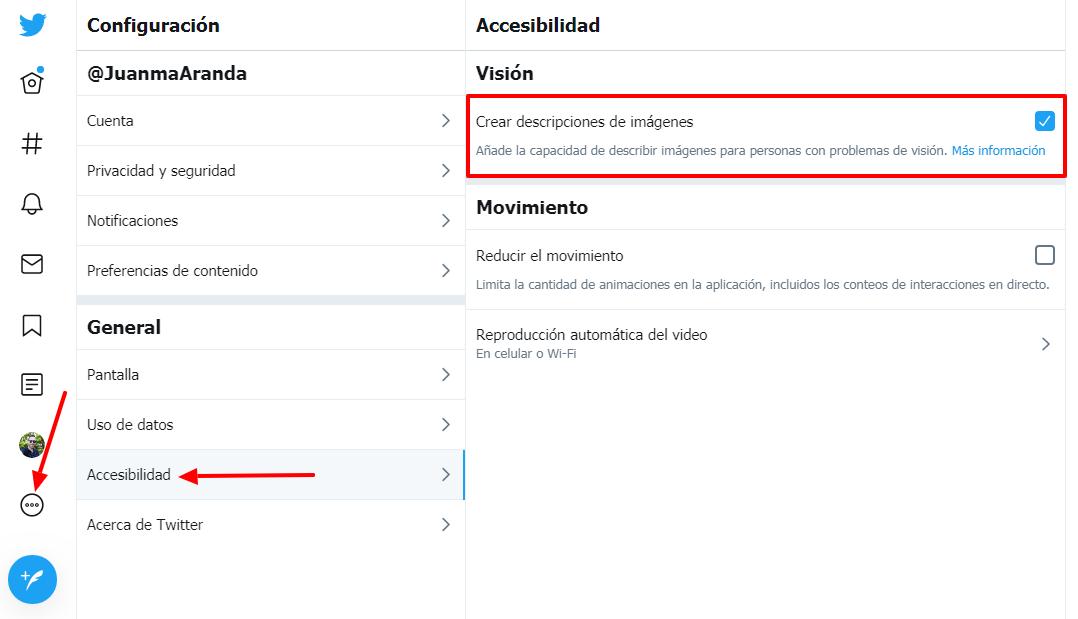 Captura de pantalla con los pasos descritos para activar la accesibilidad en Twitter