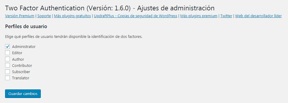 ajustes doble autenticacion wordpress