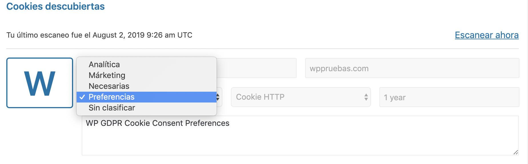 clasificacion cookies wordpress