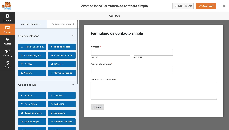 formulario contacto simple wpforms