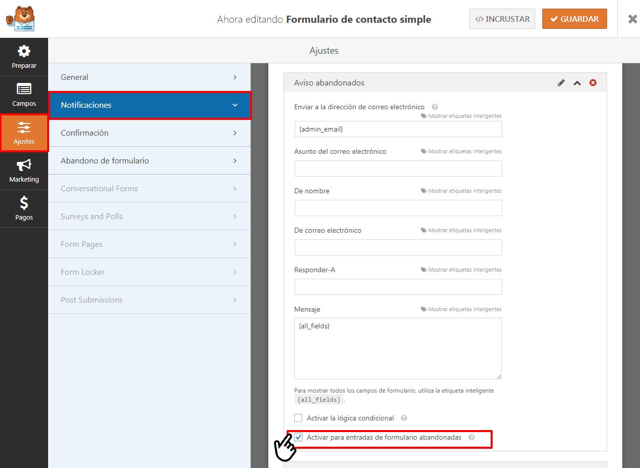 notificar formularios abandonados